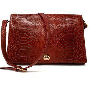 Vtg. Hobo Int'l Red Snake Print Shoulder Bag